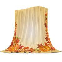 Blankets Autumn Pumpkin Yellow Leaves Soft Warm Coral Fleece Blanket Winter Sheet Bedspread Sofa Throw Light Thin Flannel
