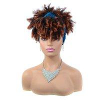 Perucas sintéticas Afro Kinky Curly Headband Curto Jerry Headwrap para mulheres negras Cosplay resistente ao calor com lenço