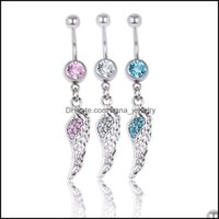 & Bell Rings Jewelry Jewelryfeather Wing Navel Button Clear Aqua Rhinestone Piercing Body Jewlery 1.6*10*8 5 Belly Ring 3 Colors Aessories D
