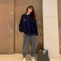 Осень из двух частей набор женщин Корейский с длинным рукавом Пуловер WoMen Одежда подходит для одежды STOM STOUTS LOONGE Носить Топ полные штаны женские