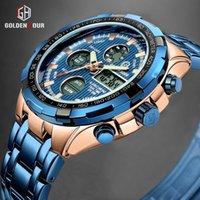 Bracelets Goldenhour Mens Montres Haut Mode Double Double Affichat Bracelet En Acier Inoxydable Horloge Sports Relogio Masculino
