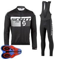 Spring / Autum Scott Team Mens Велоспорт Джерси набор с длинным рукавом рубашки на нагрузочные брюки костюм MTB велосипедные наряды гоночный велосипед униформа открытый спортивный одежда ROPA Ciclismo S21042033