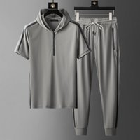 Men's Tracksuits Hooded Mens Sets (t-shirt+pants) Luxury Short Sleeve Summer Thin Male Fashion Slim Fit Sport Casual Man 5XL