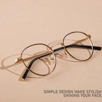 한국어 브랜드 디자인 남성 여성을위한 티타늄 라운드 안경 프레임 여성 빈티지 서클 안경 처방 안경 Oculos de Grau 패션 Sunglas