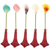 Otoño 5 colores PU Cuero plástico Flores artificiales Calla Lirio Simulación Flor Fiesta de bodas Decoración del hogar DIY Guirnaldas decorativas