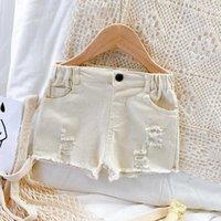 Summer White Kids Jeans For Girl Ripped Denim Children Baby Short Pants Korean Casual Toddler Bottoms Little Clothing