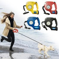 Dog Collars & Leashes Retractable Pet Harness Reflective Cat Rope Leash Lead Tape Extendable With LED For