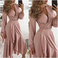 Casual Dresses Women V-Neck Ruffles Long Lantern Sleeve Lace Up Pink Boho Party Birthday Mermaid Dress Evening Ball Gowns Spring Female Robe