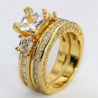 커플 링 - 남성 이중 행 지르콘 스테인레스 스틸 링 여성 18K 노란 골드 가득한 흰색 사파이어 다이아몬드 링 633 Q2