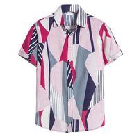 Men's Casual Shirts Men Hawaiian Fashion Style Printed Short Sleeve Loose Shirt Button Down Beach Blouse Tops Camiseta Hombre 1
