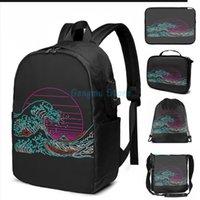 مضحك جرافيك طباعة كبيرة النيون موجة usb تهمة حقيبة الرجال الحقائب المدرسية المرأة حقيبة السفر المحمول