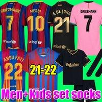 Camisas de futebol MESSI Barcelona BARCA FC 20 21 22 ANSU FATI 2021 2022 GRIEZMANN F.DE JONG COUNTINHO DEST malhas kit camisa homem crianças conjuntos meias