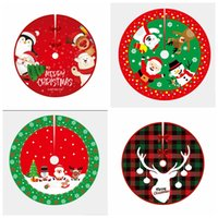 Christmas Tree Skirt Decorations 90cm 36inch Santa Claus Snowman Home Indoor Xmas Mat Carpet Decor Holiday Party Ornaments Gift HY0122