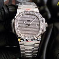 40mm 5711 5719 Relógios esportivos 5719/10 Cal.324 Mens automático Assista Gypsophila Dial Big Quadrado Diamante Bezel Pulseira de Aço Inoxidável