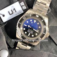 U1 relógio mestre profundo 44mm 126660 cerâmico bezel cystal aço inoxidável com fecho de bloqueio de glide automático Mens mecânicos relógios Atacado e varejo