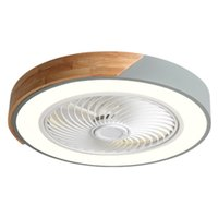 Nordic Wood Chambre Lampe Plafond Ventilateur ultra mince Ventilateurs intelligents Light Chandelier Square rond Coloré pour les enfants Chambre