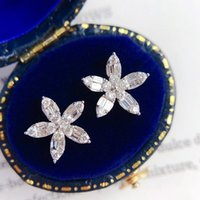 Stud Delicate Crystal Flower Earrings For Women Full Bling Cubic Zirconia Stylish Lady's Accessories Party Jewelry