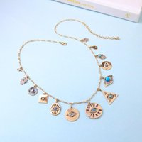 Vintage Boho Multilayer Love Heart Star Moon Evil Eyes Pendant Necklace For Women Gold Color Statement Fashion Jewelry Chains