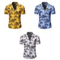 ハワイアンポロシャツメンズ夏半袖ヤシの木プリントボタンホリデーパーティーTシャツ