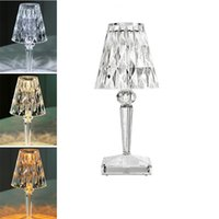 LED Crystal Night Light Projection Desk Fample USB зарядки сенсорный сенсорный ресторан бар украшения таблицы фонари романтические алмазные акриловые столы лампы