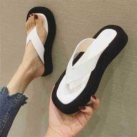 Meotina Flip Sandales Sandales Square Toe Diapositives Summer Plate-forme Summer Pantoufles Mode Design Sandasl Femmes Chaussures Blanc 210619