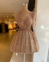 Rose Gold Sequins One Shoulder Prom Cocktail Dresses For Women 2022 Sheer Neck Beaded Knee Length Homecoming Party Gowns Abendkleider