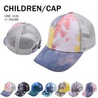 Tie-Dye Ponytai Cappelli Bambino Maglia Cappuccio Cappello Messy Bun Baseball Net Cap Trucker Hat Summer Sun Caps Bambini By Sea Lla855