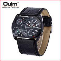 Herrenuhren Top Marke Oulm Mode Lederband Russische Armee Große Zifferblatt Japan Movt Quart Uhr Montre Homme de Marque Sport Armbanduhren