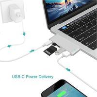 Hubs T3EB Type C Hub USB 3.0 SD TF Card Reader Adaptors Splitter 5-in-1 USB-C