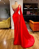 Elegant One Shoulder Red Prom Dresses Pearls Beaded Sexy Side Split Long Evening Gowns Plus Size Mermaid Pageant Dress