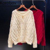 Women's Knits & Tees Korobov Korean Hollow Out Knitted Women Cardigans 2021 Autumn Winter Japanese Sweet Cardigan Vintage Elegant Sweater