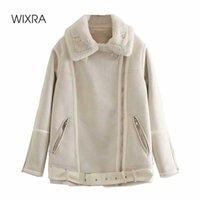 Wixra Womens Casual Suede Faux Rabbit Fur Coat Ladies Zipper Outwear Jacket Street Style Stylish Warm Overcoat Autumn Winter Y0909