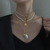 Baroque Pearl Necklace and Women's Niche Design Jewelry Folding Sweater Chain Gift RSK959