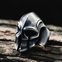 خواتم العنقودية خمر سبارتا خوذة الدائري للرجال الأزياء الفولاذ المقاوم للصدأ المحارب الجمجمة السائق الذكور الشرير القوطية مجوهرات إسقاط متجر