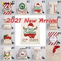 DHL gratuit NOUVEAU 2021 Sacs de Noël Santa Santa Santa Sacs Coton Grands Sacs-cadeaux de cordon lourd lourd Personnalisé Festival Fête Décoration de Noël FS13