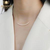 925 Sterling Silber Halskette Natürliche Süßwasserperlenschmuck für Mode Frauen