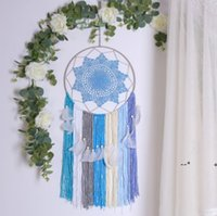 Dream Catcher Dormitorio Nursery Decoration Sun Flower Boho Floral Feather Hecho a mano Dreamcatcher Decoración colgante de la pared para la oficina de la fiesta EWA8527