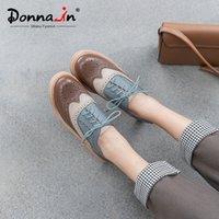 Донна в весеннем Брогуре Резные Оксфорды для женщин Повседневная Настоящая Кожа Кружева Удар Дамы Обувь с каблуками Смешанный Цвет Chaussures Femme T8MI #