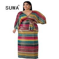 Herbst Plus Größe XL-6XL Frauen Regenbogen gestreiften Druck V-Ausschnitt Batwing Langarm Bodycon Maxi Kleid Vestidos Elegante 210525