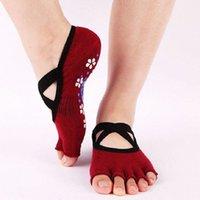 Kadın Toe Çoraplar Backless Çapraz Kaymaz Yumuşak Bale Tatlı Stil Nefes Yeminli Meslek Dans Yoga Çorap Kadınlar Için 5 Parmaklar Q4PU #