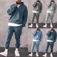 Men's Tracksuits Mens Sweatshirts Sets Long Sleeve Soild Color Leisure Sportwear Fleece 2 Piece Outfit Set Men Autumn Warm Casual Tracksuit