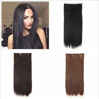 Fynthetic Long Straight Fashion Trend Capelli, estensioni di capelli in fibra artificiale Adatto per tutti i tipi di persone in Europa e America, Bianco Black Donne