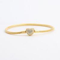 18K 옐로우 골드 도금 CZ 다이아몬드 심장 팔찌 원래 상자 세트 Pandora 925 실버 스네이크 체인 팔찌 여성용 웨딩 쥬얼리