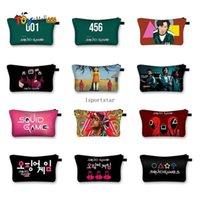 Korea Squid Game Print Cosmetic Bags Make Up Storage Organizer Travel Pouch Makeup Bag Purses tToiletry Bag Women Handbag FY3249