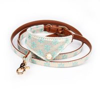 Dog Collars & Leashes PU Leather Small Dogs Leash Fashion Floral Necktie Collar Pets Supplies Puppy Pitbull Perro Chihuahua Pet