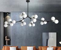Post Современные светодиодные люстры деления ветви стиль стеклянные шарики потолочные лампы гостиная столовая спальня освещение светильников
