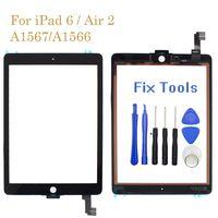 100 % 테스트 된 패널 iPad Air 2 터치 A1567 A1566 화면 유리 플렉스 케이블 무료 공구가있는 화면 유리