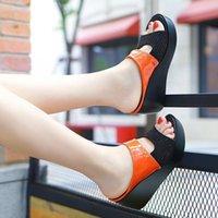 Sandals Wedge Heels Rhinestone Slippers Women 2021 Outdoor Word Drag Platform Large Size Women's Shoes Zapatillas Muje