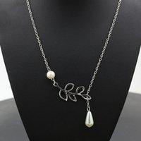 Hot 2019 Mode Pearl Anhänger Halskette Mode Blatt Imitation Perlen Tropfen Kreuz Halskette Für Frauen Schmuck Geschenk Party 729 T2