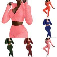 Mujeres Diseñador de chándalsuits Dos piezas Conjuntos Zipper Jacket Pantalones Trajes de Yoga Color Sólido Piña Tops Legging Outfits Invierno